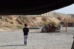 Bière-Sheva, le printemps 2018, Israël - un garçon et un chameau sur un chameau cultivent dans le désert du Néguev, Israël Photo libre de droits