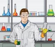 Biólogo en el laboratorio stock de ilustración