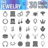 Biżuteria glifu ikony set, akcesoryjni symbole kolekcja, wektor kreśli, logo ilustracje, klejnotów znaków bryły piktogramy royalty ilustracja