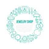 Biżuteria sklep, diamentowa akcesoria sztandaru ilustracja Wektor kreskowa ikona klejnoty - złociści pierścionki zaręczynowi, kle ilustracji