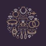 Biżuteria sklep, diamentowa akcesoria sztandaru ilustracja Wektor kreskowa ikona klejnoty - złociści zegarki, pierścionki zaręczy Fotografia Stock