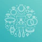 Biżuteria sklep, diamentowa akcesoria sztandaru ilustracja Wektor kreskowa ikona klejnoty - złociści zegarki, pierścionki zaręczy Obrazy Royalty Free