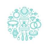 Biżuteria sklep, diamentowa akcesoria sztandaru ilustracja Wektor kreskowa ikona klejnoty - złociści zegarki, pierścionki zaręczy Fotografia Royalty Free