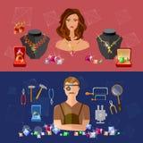 Biżuteria sztandarów sprzedaży cennych kamieni jubiler w miejscu pracy Zdjęcie Royalty Free