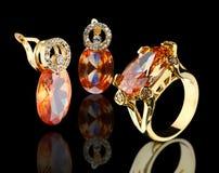 biżuteria złoty set Fotografia Royalty Free