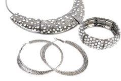 biżuterii nowożytny setu srebro Fotografia Stock