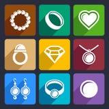 Biżuterii płaskie ikony ustawiają 33 Obraz Royalty Free