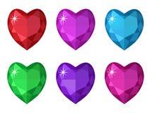 Biżuterii serca set Gemstones serc kształtna kolekcja Zdjęcia Royalty Free