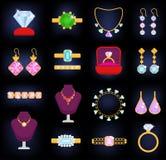 Biżuterii wektorowego jewellery bransoletki kolii złociści kolczyki i srebro pierścionki z karowymi biżuteryjnymi akcesoriami ust Fotografia Stock