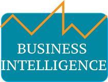Business intelligence word text logo Illustration. Stock Images