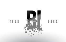BI B mim logotipo da letra do pixel com quadrados pretos quebrados Digitas Fotografia de Stock