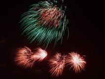 Bi-color fireworks Royalty Free Stock Image