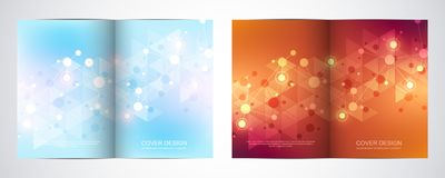 Bi fold brochure template with science and technology background. Geometric texture with molecular structures and. Chemical engineering stock illustration