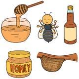 Bi, honung och honungskaka Royaltyfri Bild