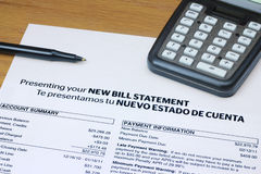 Bi-lingual Bill Statement. A bi-lingual bill statement in Spanish and English Royalty Free Stock Images