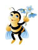 Bi med blommor Arkivfoton