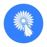 Bi på blommasymbolen i svart stil som isoleras på vit bakgrund Illustration för vektor för bikupasymbolmateriel Fotografering för Bildbyråer