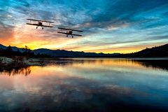 BI PLANE OVER LAKE HEMET,CA royalty free stock photo