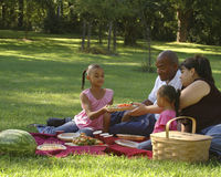 Bi-racial Family Picnic. African American dad, Hispanic mom and children on family picnic.  Food being passed Royalty Free Stock Image