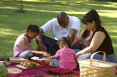 Bi-racial Family Picnic. African American dad, Hispanic mom and children on family picnic, saying grace before the meal