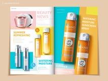 Bi-vouwen kosmetische brochure royalty-vrije illustratie
