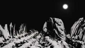 Biała skalista powierzchnia niewiadoma planeta w czerni przestrzeni z białą, jaskrawą księżyc na tle, Obcy planeta krajobraz royalty ilustracja