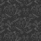 Białego konturu bezszwowy wzór z królikiem, kwiatami i jajkami Easter, royalty ilustracja