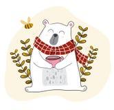 biały niedźwiedź ma kawę w wiosna sezonie z pszczołą troszkę royalty ilustracja