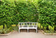Biała ławka Obrazy Royalty Free