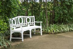 Biała ławka na korytarzu Zdjęcie Royalty Free