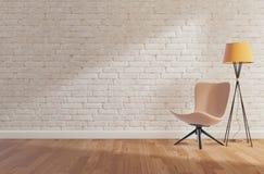 Biała ściana z cegieł i drewniana podłoga, egzamin próbny w górę, kopii przestrzeń, 3d rendering ilustracji