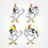 Biała śmieszna komicznie papuga w różnych pozach Obrazy Stock