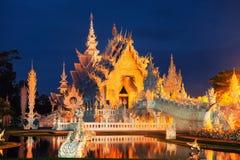Biała świątynia w Chiang Raja, Tajlandia przy nocą obrazy royalty free