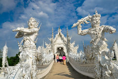 Biała świątynia Wat Rong Khun Zdjęcia Stock