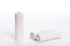 Biała bateria odizolowywająca Fotografia Stock
