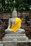 Biała Buddha statua wokoło wata Yai Chai mongkhon Zdjęcie Stock