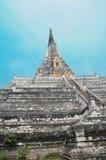Biała Buddyjska stupa, Wata Phu Khao pasek w Ayutthaya fotografia stock