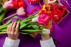 Biała caucasian kobieta wręcza trzymać kolorowych tulipany blisko rzeczy Obrazy Stock