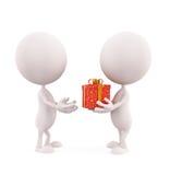 Biała charakter ilustracja z prezenta pudełkiem Fotografia Royalty Free