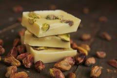 Białe pistacje i czekolada Zdjęcie Royalty Free