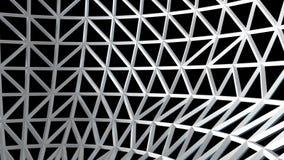 Biała 3D drutu rama z czarnym tłem, abstrakcjonistyczna sztuka, część sfera render Ilustracji