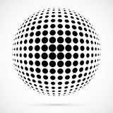 Biała 3D halftone wektorowa sfera Kropkowany bańczasty tło logo Zdjęcie Royalty Free