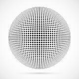 Biała 3D halftone wektorowa sfera Kropkowany bańczasty tło logo Obraz Stock