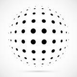 Biała 3D halftone wektorowa sfera Kropkowany bańczasty tło logo Obraz Royalty Free