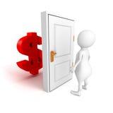 Biała 3d osoba z dolarowym waluta symbolem za drzwi Obrazy Royalty Free