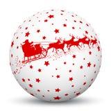 Biała 3D sfera z Czerwonymi gwiazdkami i Święty Mikołaj z reniferem ilustracja wektor