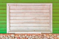 Biała drewniana żaluzja okno Zdjęcia Stock