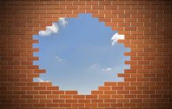 Biała dziura w starej ścianie, Obraz Stock