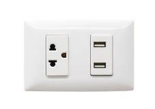 Biała elektryczna prymka i USB ścienny ujście Fotografia Royalty Free