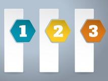 Biała etykietka infograhic z dużymi kolorów sześciokątami Fotografia Stock